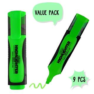 9 x Fluorescent Highlighter, Chisel tip, Green Color