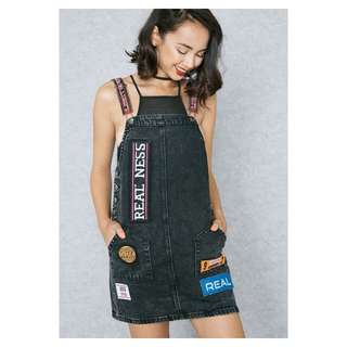 F21 Denim Patches Pinafore