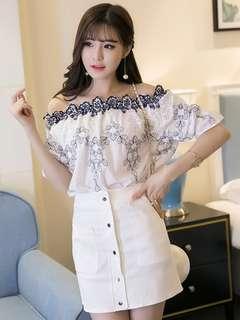 2-Piece: Korea Boat Neck Floral Blouse with Slim Cotton Skirt (S / M / L) - OA/XKC072415