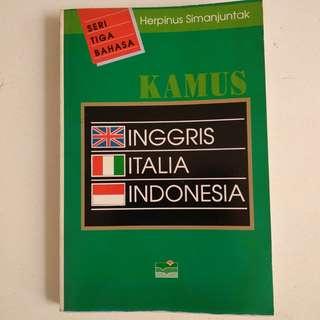 Buku Kamus Seri Tiga Bahasa - Inggris Italia Indonesia