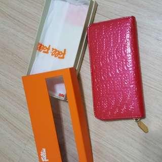 🚚 全新 正品 真品folli follie 紅色 漆皮 拉鍊 長夾 皮夾 錢包