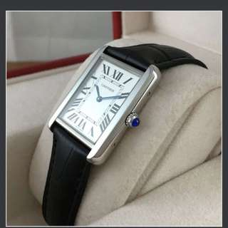Cartier small tank solo leather 100% new and real, full set, certificate, worldwide guarantee