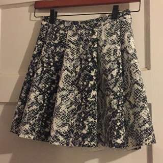 Abercrombie & Fitch Snake Skin Skater Skirt A&F 蛇皮紋百摺短裙