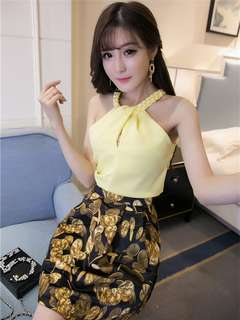 2-Piece: Yellow Korean Off Shoulder Halter Blouse with Coins Skirt (S / M / L) - OA/XKC072414