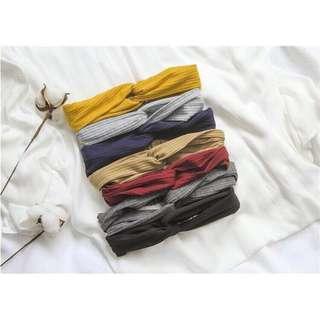 韓版針織素色髮帶