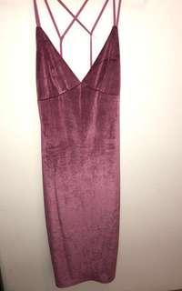 Velvet Dark Pink Dress