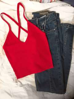 Red Ribbed Crossback Crop Top - Size S/P