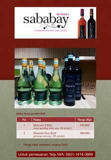 Price list Wine sababay