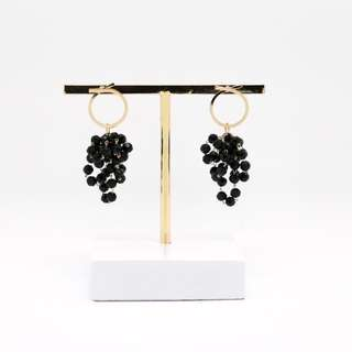 EMVINEX- 925 silver earring cross ring with bundles of black beadings chandelier style fashion earrings