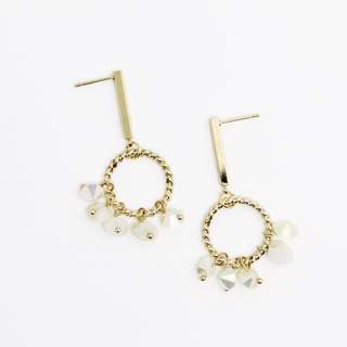 EMVINEX- Gold twisted ring paired white glaze crystals on band gold earrings elegant set