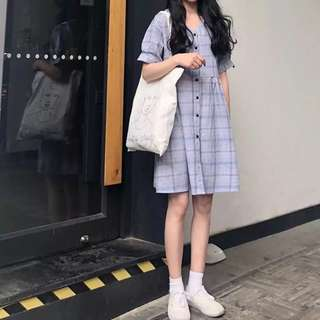 Ulzzang Mid Length Sleeve Checkered / Plaid babydoll dress