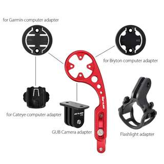 💯🆕GUB Retractable Aluminum Alloy Computer Holder for Garmin / Bryton / Cateye (Red)