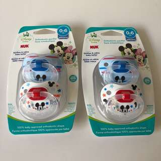 DUAL COMBO PACK: NUK, Disney Baby, Mickey Mouse Orthodontic Pacifier, 0-6 Months, 4 Pacifiers and Ulubulu Combo 3 Piece Pacifier Clips (Neutral 2 colour)