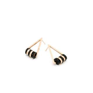EMVINEX- stainless steel gold x black triangle geometric earring