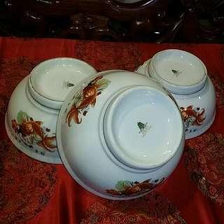 Chinese Vintage Big Bowls 3pcs Girl Koi Fish