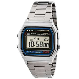 Casio Unisex Silver Stainless Steel Strap Watch A158WA-1DF