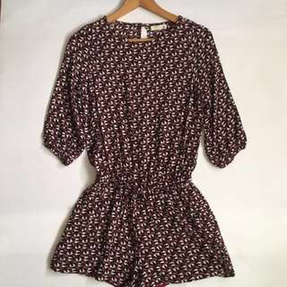 Romper-maroon with African like prints