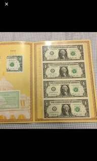 US dollar uncut money