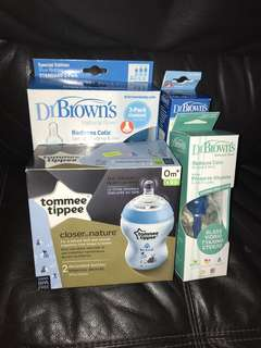 Brand new Dr. Brown & tommee tippe feeding bottles