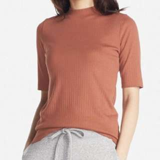 Uniqlo Women Ribbed High Neck Half Sleeve T-Shirt