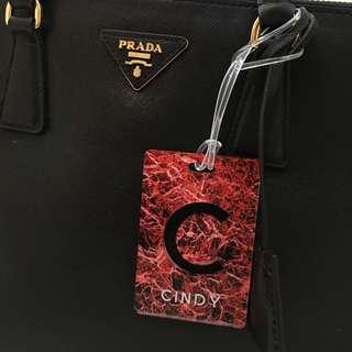 Custom Personalised Luggage Tag - Red Marble
