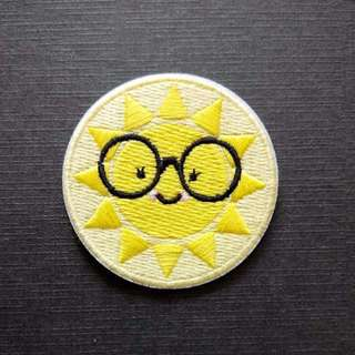 Sunshine Nerdy Cute Sun Iron On Patch