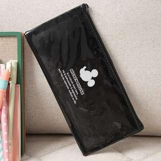 米奇老鼠mickey黑色 日本可愛卡通pvc防水網格卡通學生筆袋