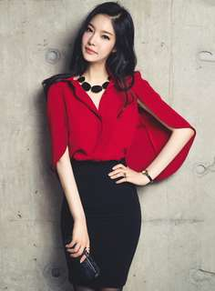 2-Piece: Red Modern Wraps Chiffon Blouse with Hip-Packed Short Skirt (S / M / L) - OA/XKC070104