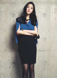 2-Piece: Blue Modern Wraps Chiffon Blouse with Hip-Packed Short Skirt (S / M / L) - OA/XKC070104
