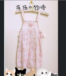 🚚 愛的世界蝴蝶結吊帶裙(6A)/近新