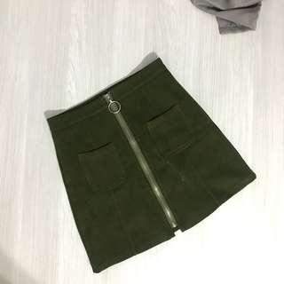High Waist Zipper Skirt in Army Green
