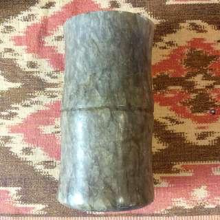 Jade Stone Pen Holder 玉石筆筒