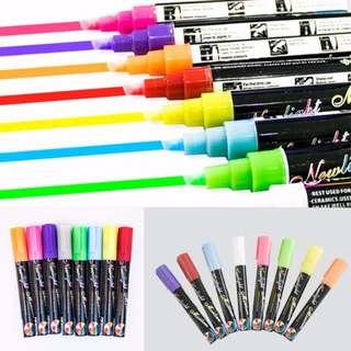 GAD0274AA - New 8 Colours Dual Nib (6mm) Neon Liquid Chalk Pen Marker Blackboard Glass Window Menu - Wet Wipe Erase