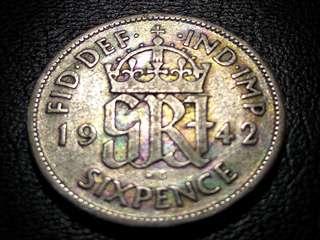1942 Rainbow Color 6 Pence King George VI
