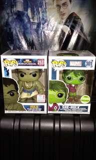 Casual Hulk & Lawyer She-Hulk Marvel Funko Pop Bundle