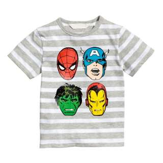 LM047 Boys Striped Marvel Superheros Tee Top T-shirt