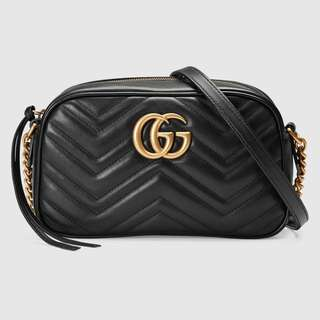 Gucci -GG Marmont small matelassé shoulder bag Black Leather 黑色細波浪紋牛皮手袋(正品及全新)