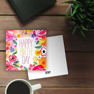 Happy Birthday Floral Card Gift Tag