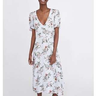 European Romantic Floral Print V Neck Bow Short Sleeve Dress