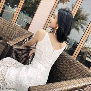 Knit Lacey White Maxi Dress
