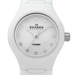 Skagen White Dial Swarovski Crystal White Ceramic Ladies Watch 816XSWXC1