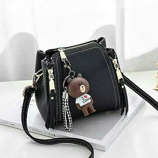 MG 018 SATCHEL BAG BLACK GIL TAS  Ladys bag leather pu 20x25x13