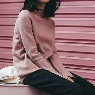 High neck boxy sweater cashmere