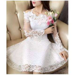 Short Laced Cool White Gown