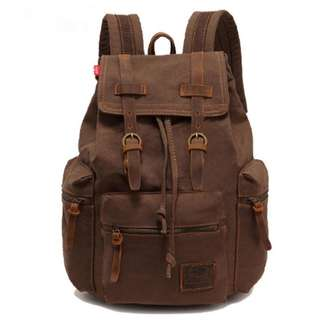 Vintage Canvas Backpack Travel   Casual Leather Backpacks  School bag 6cf198c64f017