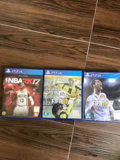 PS4 games: 2k17, FIFA 17, FIFA 18
