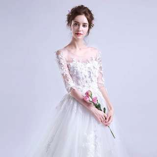 Wedding Bridal Brides Bridesmaid Sisters White Sleeve Dress / Gown