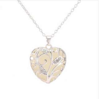 Glow in the Dark Heart-Shaped Medallion Necklace