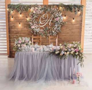 RENTAL - Grey Tulle Table Skirting