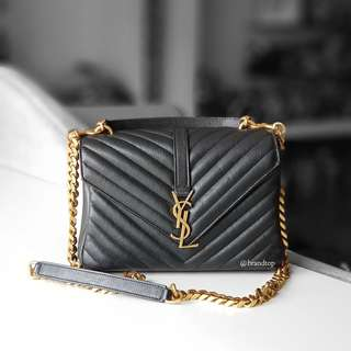 Authentic Ysl Yves Saint Laurent Black College Bag